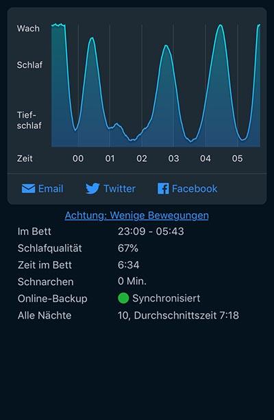 Meine erste Nacht mit der SleepCycle Free-App